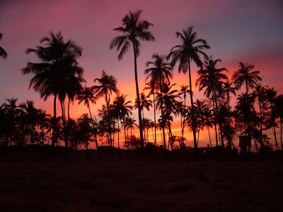 Пляж, море, пальмы, закат - Гоа, Арамболь, Индия